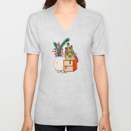 Minhwa: Old Korean Stationery with Coral A Type (Korean traditional/folk art) Unisex V-Neck