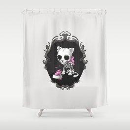 Bone Kitty Shower Curtain