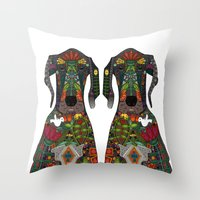 great dane Throw Pillows featuring Great Dane love white by Sharon Turner