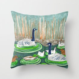 Water Friends drawing by Amanda Laurel Atkins Throw Pillow