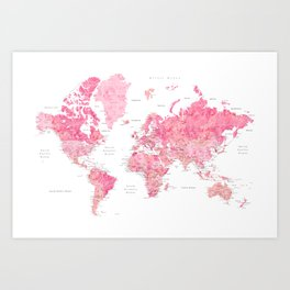 Pink detailed watercolor world map with cities Azalea Art Print