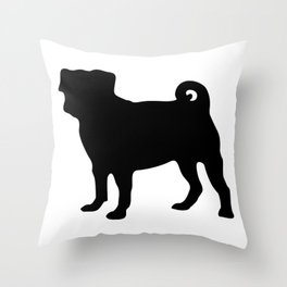 Simple Pug Silhouette Throw Pillow