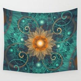 Beautiful Tangerine Orange and Teal Lotus Fractals Wall Tapestry