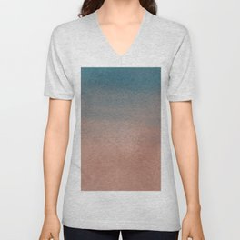 Abstract peacock blue coral ombre watercolor Unisex V-Neck