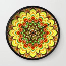 Colorful flower striped mandala Wall Clock