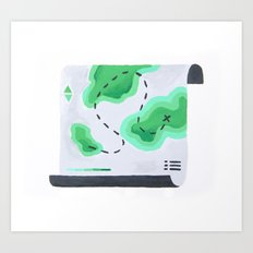 Green Topography Map Art Print