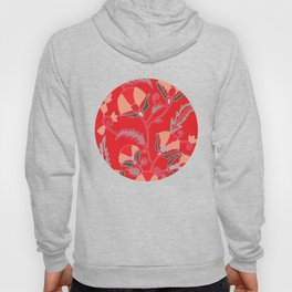 Suzani-inspired blooms on red Hoody