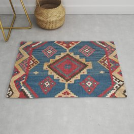 Vintage Woven Kilim II // 19th Century Colorful Royal Blue Yellow Authentic Classic Ornate Accent Pa Rug