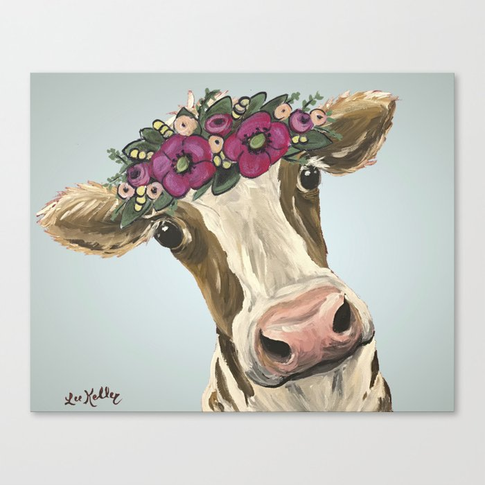Cow With Flower Crown Cute Cow Art Canvas Print By Leekeller Society6