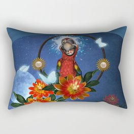 Funny cute parrot with flowers Rectangular Pillow