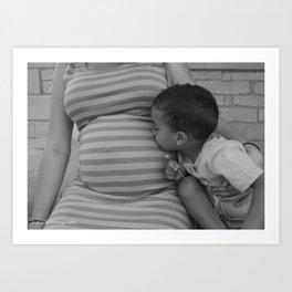 Kissing Baby Sis B&W Art Print