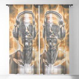 Disco god portrait / 3D render of silver male figure with headphones and disco shades engulfed in fl Sheer Curtain