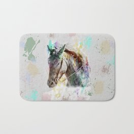 Watercolor Horse Portrait Bath Mat