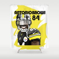 nfl Shower Curtains featuring Antonio Brown  by MikeHanz
