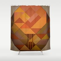 hot air balloon Shower Curtains featuring Hot Air Balloon Abstract by Alyn Spiller