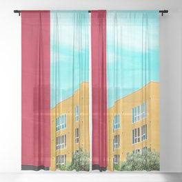 Architectural photography building red+yellow / aqua sky Sheer Curtain