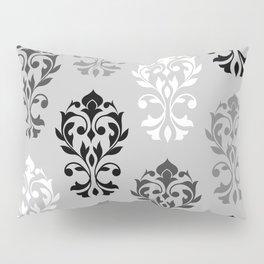 Heart Damask Art I Black White Greys Pillow Sham