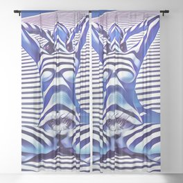 9665s-KMA_5201 Powerful Blue Woman Open Free Striped Sensual Sexy Abstract Nude Sheer Curtain