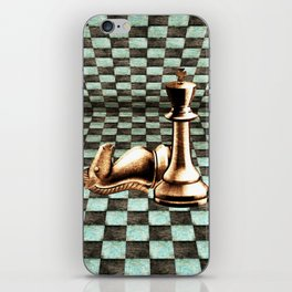 Grunge  Chessboard and Chess Pieces iPhone Skin