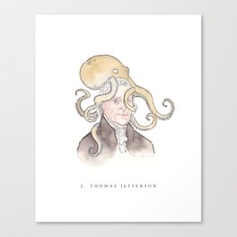 Thomas Jefferson with an Octopus on his Head Canvas Print