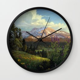 Rocky Mountain Meadow With Spring Wildflowers Western Mountain Landscape Painting Wall Clock