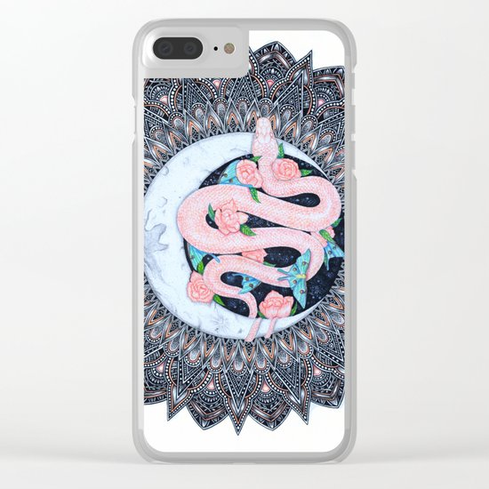 Lunar Pink Python Mandala Clear iPhone Case