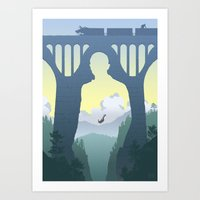 skyfall Art Prints featuring SKYFALL by Ape Meets Girl
