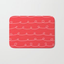 Tomato Red Curlicues Bath Mat