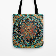 Blue and Gold Mandala Tote Bag