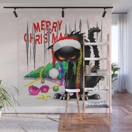 Evil Black Cat VS Christmas Tree Wall Mural