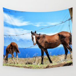 Horses against a blue sky Wall Tapestry