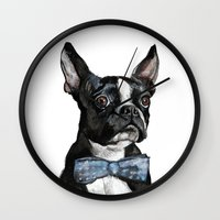 terrier Wall Clocks featuring Boston Terrier by Orestis Lazos
