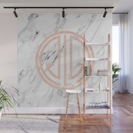 great Gatsby rose gold black and white marble Wall Mural