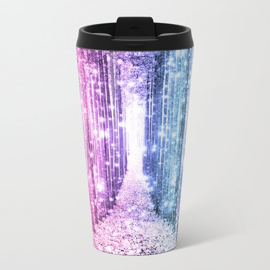 Magical Forest : Pastel Pink Lavender Aqua Periwinkle Ombre Metal Travel Mug