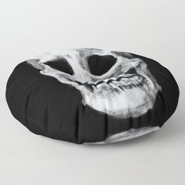 Skull on Black Floor Pillow