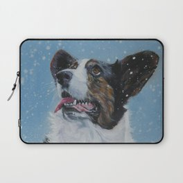 The Cardigan Welsh Corgi dog art portrait from an original painting by L.A.Shepard Laptop Sleeve