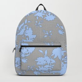 Pale Blue Floral Pattern on Medium Grey Burlap Texture Vector Art Backpack
