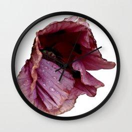 Poppy with raindrops III Wall Clock