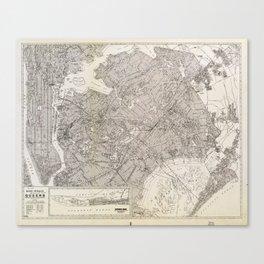 Metropolitan Map of Queens, New York (1922) Canvas Print