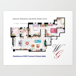Apartment of Will Truman and Grace Adler - Floorplan Art Print