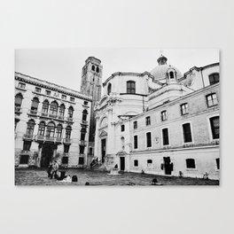 Venice, Italy, Film Photo, Analog, Black and White Canvas Print