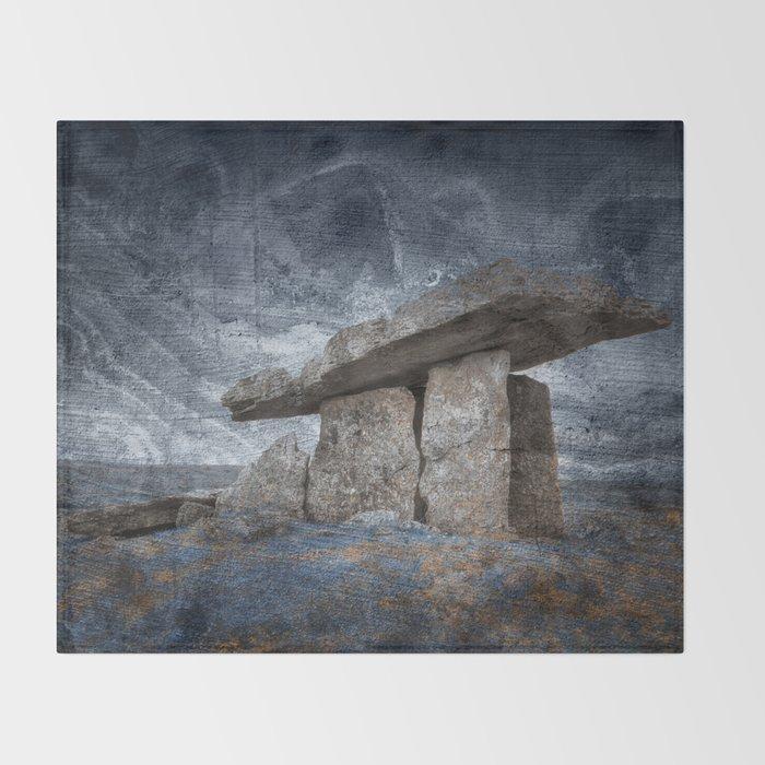 Poulnabrone Dolmen - Blue Winter Grunge Throw Blanket