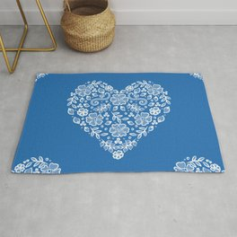 Azure Strong Blue Heart Lace Flowers Rug