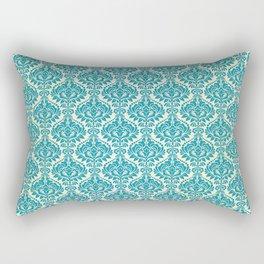 Teal and Ecru Damask Rectangular Pillow