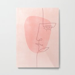 Abstract Face in Peach Metal Print