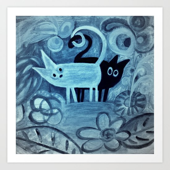 cats in blue Art Print
