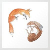 fox and hare Art Print