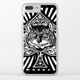 Cheshire Cat Black and White Clear iPhone Case