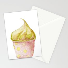 Watercolor Ice Cream Green Stationery Cards