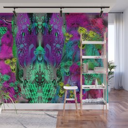 Sugar Skull and Girly Corks (psychedelic, abstract, halftone, op art) Wall Mural